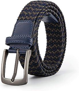 حزام مجدول مرن منسوج للرجال - أحزمة قماشية كاجوال قابلة للتمدد من سبيكة الزنك إبزيم