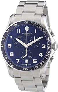 Victorinox Chrono Classic XLS Blue Dial Stainless Steel Mens Watch 241652XG (Renewed)