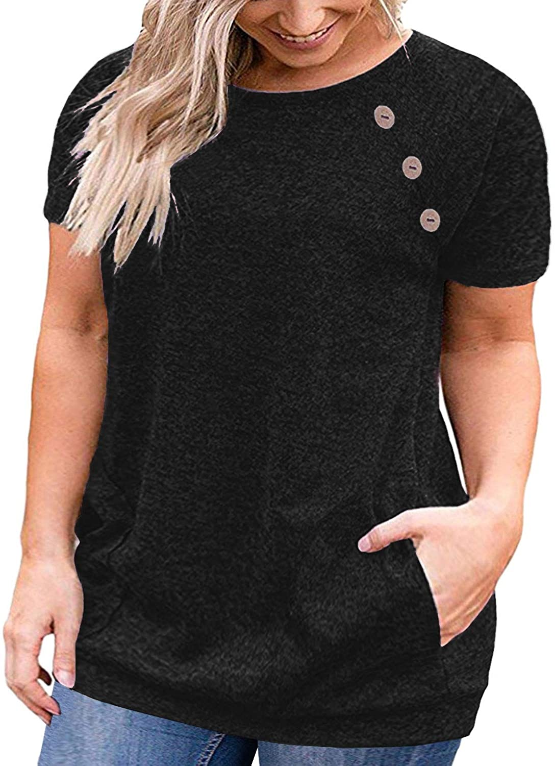 VOGRACE Womens Plus-Size Summer Tops Button Up T Shirts with Pockets