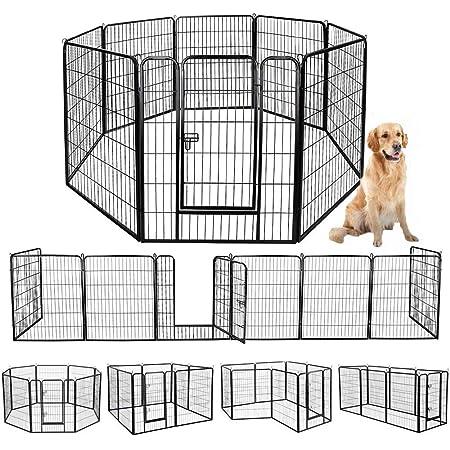 ペットフェンス 中大型犬用— ペットケージ パネル8枚 ペットサークル 四角ポール 折り畳み式 ペットフェンス ゲージ サークル トレーニングサークル スチール製 複数の組み合わせ 室内室外兼用 犬小屋 ペット用品
