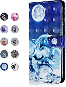 CAXPRO Galaxy Plus 2018 Case  Leather Full Body Protective Cover Case with Credit Card Holders  Wrist Strap  Magnetic Closure for Samsung Galaxy Plus 2018 Wolf