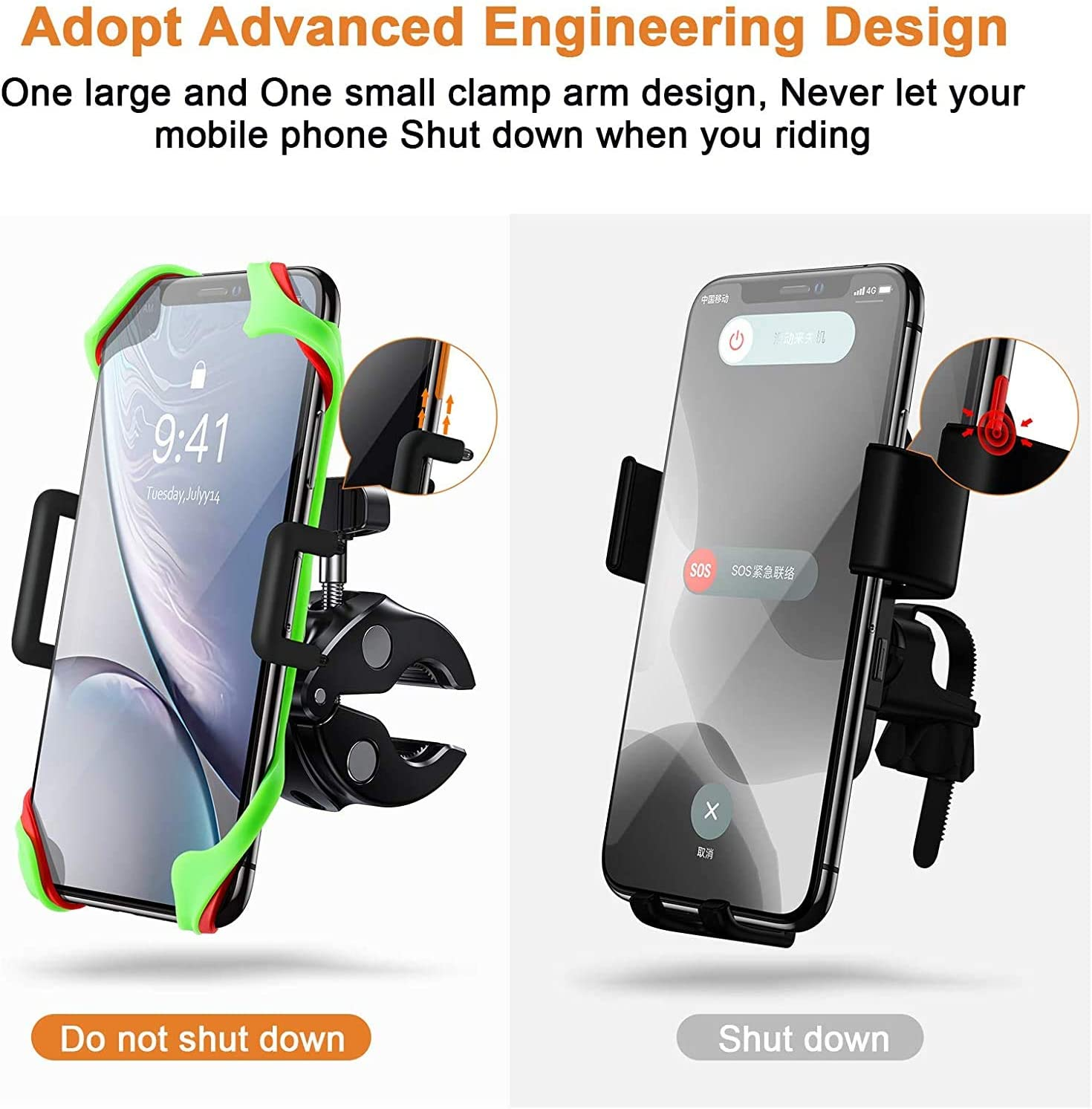 joyroom Bike Phone Mount with 360 Rotation Samsung S20//S20 Plus Gray Compatible with iPhone 11 Pro Max//11 Pro//XS Max//XR//8 Anti-Shake Adjustable Bicycle Phone Holder for Universal Handlebar