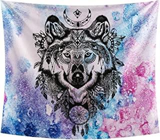 INTHouse Galaxy Wolf Tapestry Wall Hanging Starry Night Tapestry Psychedelic Tapestry Mandala Wall Tapestry Moon Star Tapestry Galaxy Decor for Bedroom CollegeDorm Room