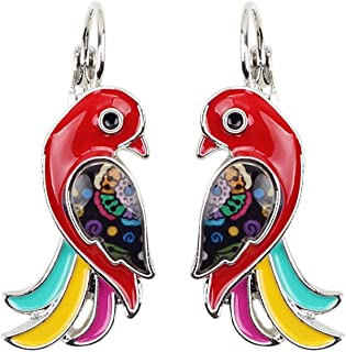 Enamel Alloy Tropic Parrot Bird Earrings Fashion Animal Jewelry French Clip For Girls Women Gift Charms Decorations