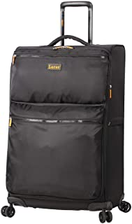 Best Designer Luggage Collection - Expandable 24 Inch Softside Bag - Durable Mid-sized Ultra Lightweight Checked Suitcase with 8-Rolling Spinner Wheels (Black) Reviews