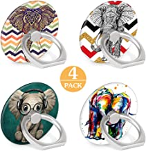 4-Pack Phone Ring Holder Tribe Elephant 360 Degree Rotation Finger Ring Stand Holder Grip Kickstand Compatible with Smartphones and Tablets