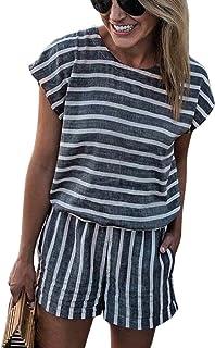 289ae1ca898 NANYUAYA Women Stripe Backless Loose Casual Summer Shorts Short Sleeve  Bohemian Romper