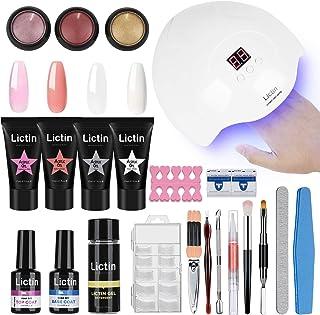 Lictin kit Lampara Uñas de Gel-Lámpara Secador de Uñas UVLED con 4 * 15ml Extension Glue 100 Pcs Uñas 3 * Polvo de Uñas...