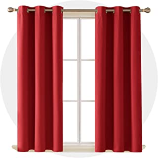 Deconovo Room Darkening Thermal Insulated Blackout Grommet Red Christmas Curtain Panel for Living Room 42x63 Inch 2 Panels