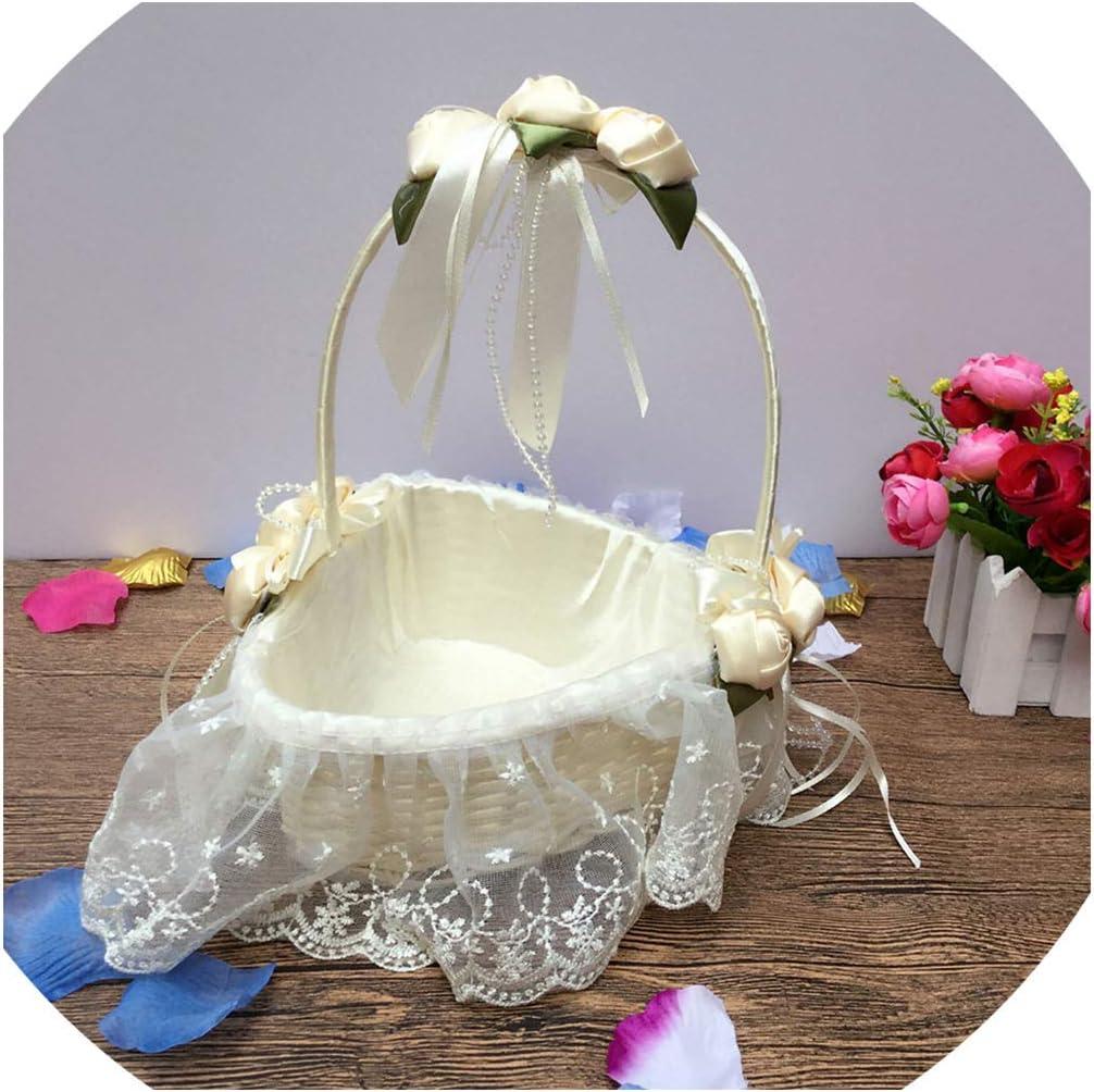 Flower Girl Basket Wedding Pink Blush Decorations Wicker Little Girl Basket Bridal Bride Gift Card Holder Blush Rose Decor Theme