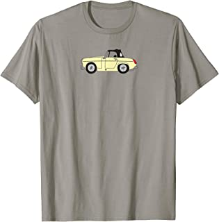 MG Midget Light Yellow Cream British Car Cartoon T-shirt