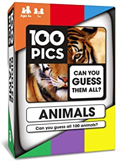 100 PICS Animals Quiz Card Game - Family Flash Card Travel Trivia Puzzle Games for Smart Kids