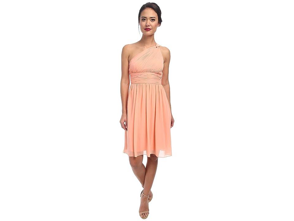 Donna Morgan Rhea One-Shoulder Dress (Peach Fuzz) Women