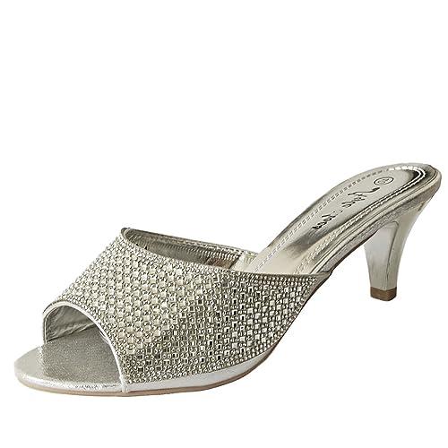 eea62c080db Rock on Styles Ladies Party Diamante Low Kitten Heel Wide Feet Shoes  Sandals Plus Sizes-