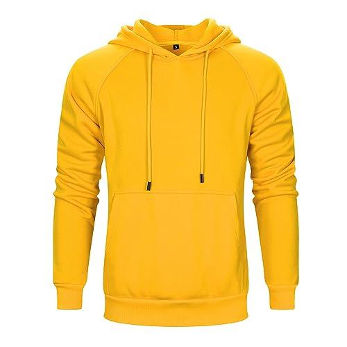 Big Hit Men Hoodies Sweatshirts Oversized Basic Hoodies,Yellow,XL