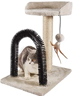 PEEKAB Cat Scratching Post Funny Cat Tree with Soft Plush Platform Top & Grooming Arch for Kittens and Cats