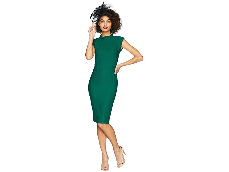 Unique Vintage High Collar Laverne Wiggle Dress (Emerald Green) Women