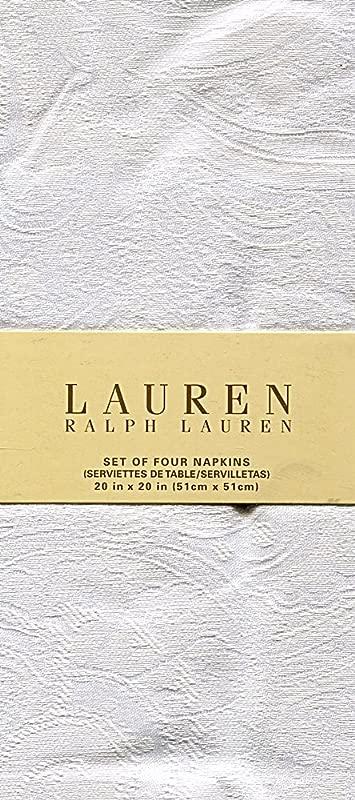 Ralph Lauren Paisley Suite White Set Of Four Cloth Napkins