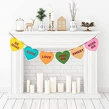 Whaline Felt Candy Heart Banner Conversation Bunting Garland for Valentine's Day Decoration, Indoor Outdoor Wedding Engagement Anniversary Party Favor