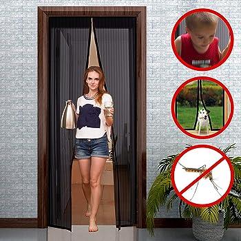 Personnalisable Portes Coulissantes WISLKEO Moustiquaire Aimant/éE Porte Ajustable Portes De Balcon Noir 120x210cm Fermeture Automatique Animaux Accept/éS