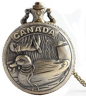 HR Canada a sculpté la Montre de Poche à Quartz à Rabat en Bronze avec chaîne pour Hommes et Femmes