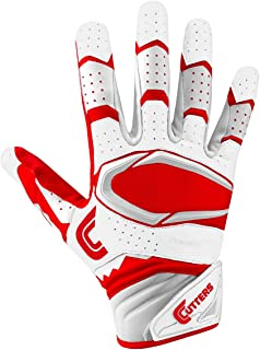 Cutters Gloves Rev Pro 2.0 Receiver Football Gloves, White/Red, Medium