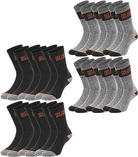 Black+Decker, Black + Decker Essential Work Crew - Calcetines de trabajo unisex (12 unidades, 39-42, 43-46, 47-49, algodón), color negro y gris