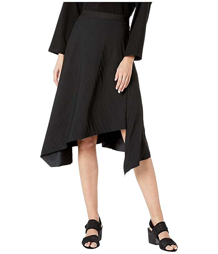 Eileen Fisher  Pleated Recycled Polyester Bias Asymmetrical Skirt (Black) Womens Skirt
