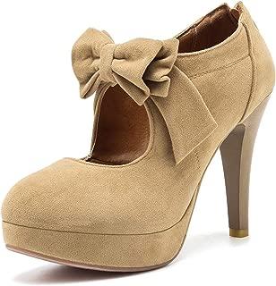 Mostrin Fashion Vintage Womens Small Bowtie Platform Pumps Ladies Sexy High Heeled Shoes