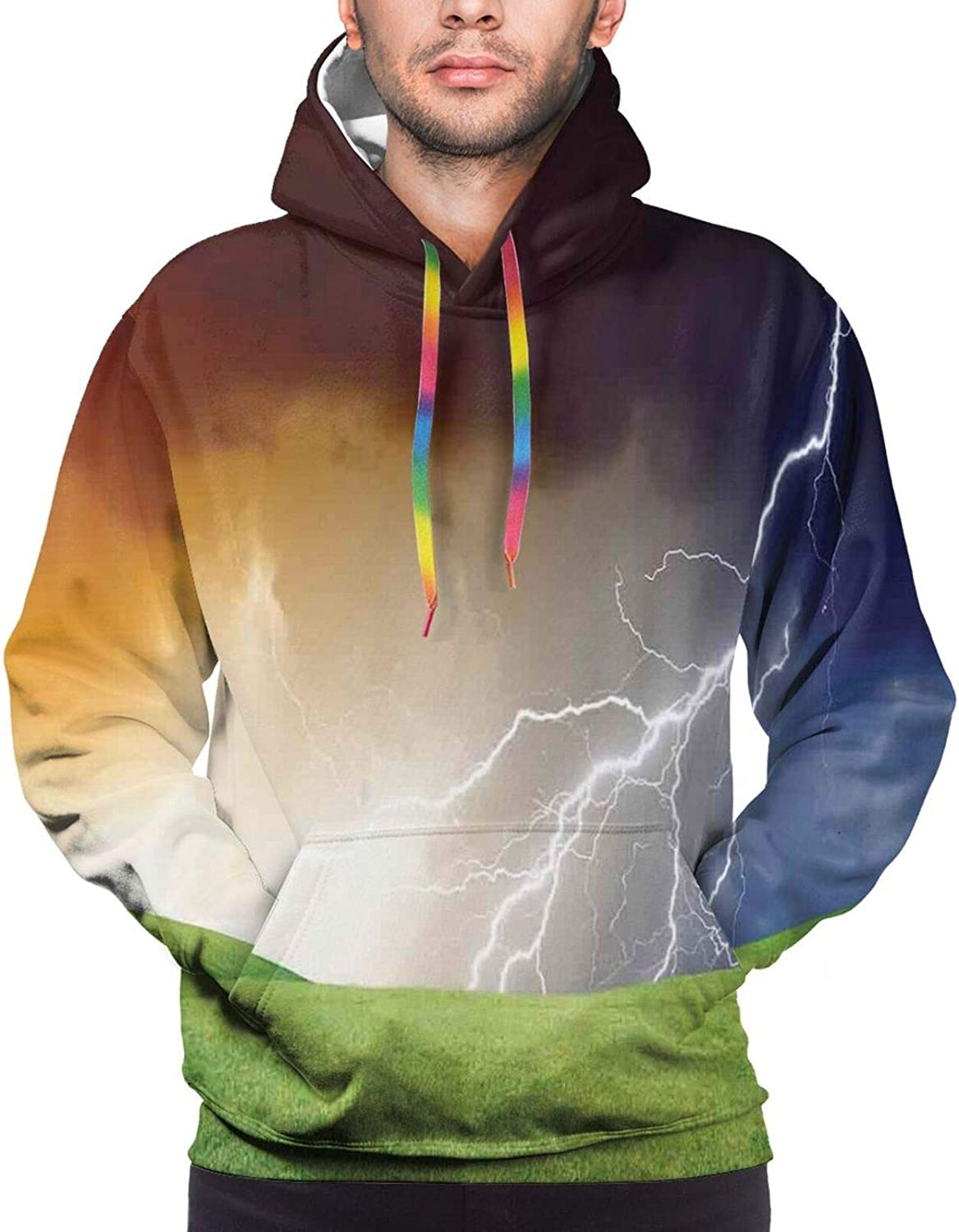 Men's Hoodies Sweatshirts,Nature Landscape with Fresh Grass Field and Thunder Flash Environmental Theme