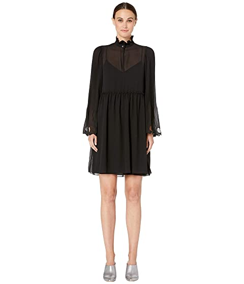 See by Chloe Plisse Georgette Long Sleeve Dress