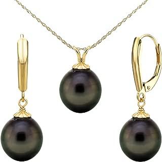 La Regis Jewelry 14k Gold 10-10.5mm Black Off-Shape Tahitian Cultured Pearl Pendant and Lever-Back Earrings Set