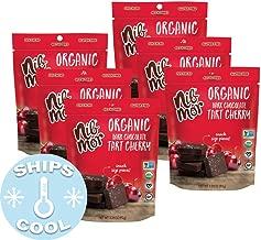 Nib Mor Organic Dark Chocolate Snacking Bites with 72% Cacao - Tart Cherries, 3.26 Ounce (Pack of 6)
