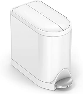simplehuman 10 Liter / 2.6 Gallon Butterfly Lid Bathroom Step Trash Can, White Steel
