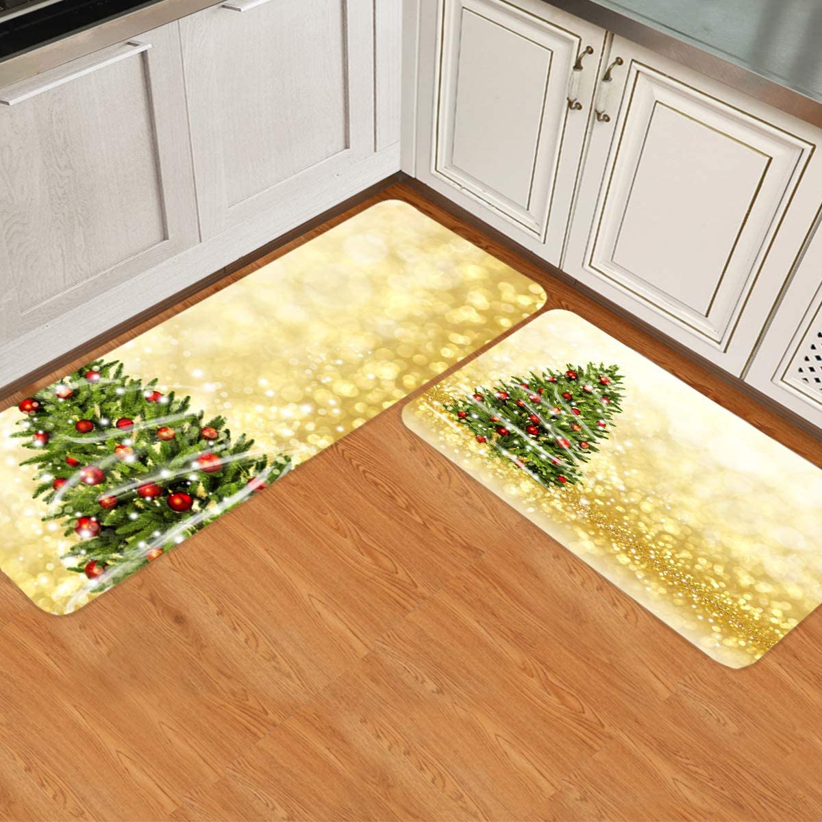 Leotear Kitchen Mat 4 years warranty 2021new shipping free Christmas Tree Polka Dot Backgroun on Golden
