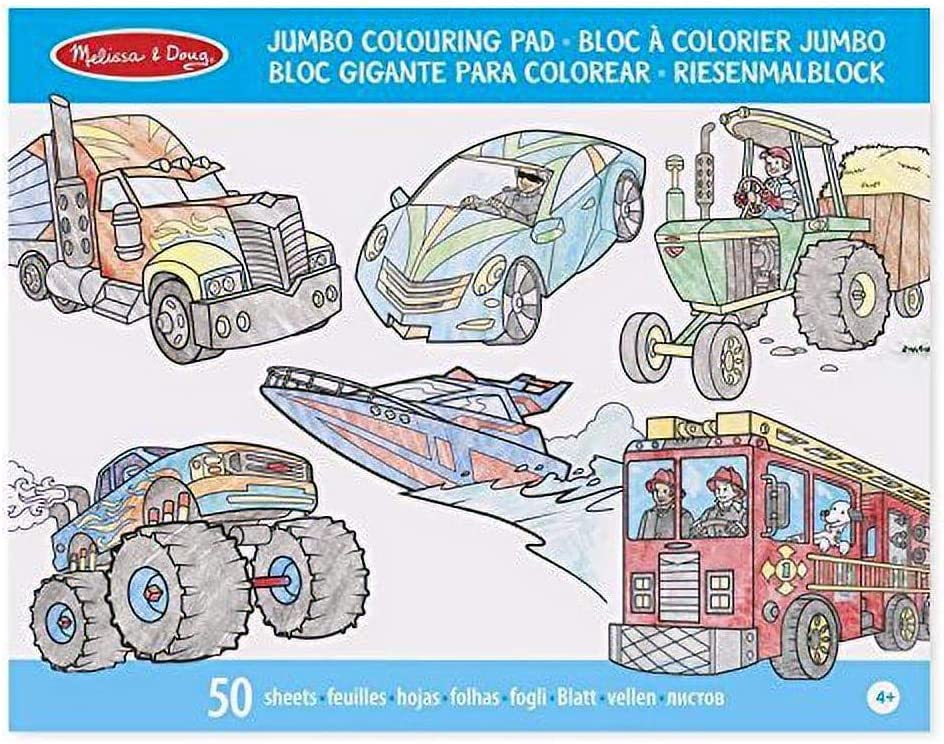 Melissa Doug Jumbo Colouring Pad: Vehicles 50 - Now free shipping Pages of White Miami Mall