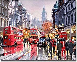Fafellandi DIY Oil Painting Paint By Number for Kids and Adults Scenery London Street 16x20 Inches Without Frame Frameless