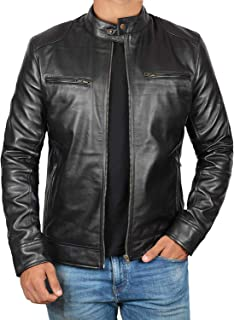 Mens Leather Jacket Real Lambskin Motorcycle Leather Jackets for Men