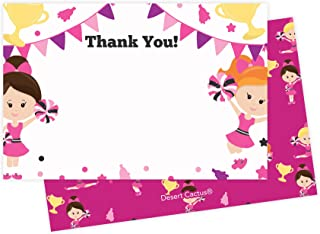Cheerleader Thank You Cards (25 Count) With Envelopes and Seal Stickers Bulk Birthday Party Bridal Blank Graduation Kids Children Girl Baby Shower (25ct)