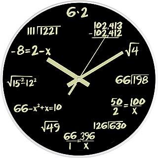 BEW Luminous Wall Clock, Math Formulas on Blackboard, Non-Ticking Battery Operated, Plexiglass Decorative Clock for Living/Dining/Kids Bedroom/Kitchen/Classroom (12 Inch Math Formulas)