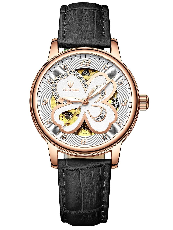暖かく影響する人気MJZJP 腕時計 レディース 機械式 多機能 超軽量 ウォッチ 防水 花 ハート 綺麗 通勤 時計 とけい (Color : 01ブラック, Size : フリー)