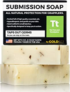 Premium Tea Tree Oil Soap - 100% All Natural USA Made Bars for BJJ, Jiu Jitsu, Wrestling, and Grappling (2-Pack of 4 Ounce Soap Bars)