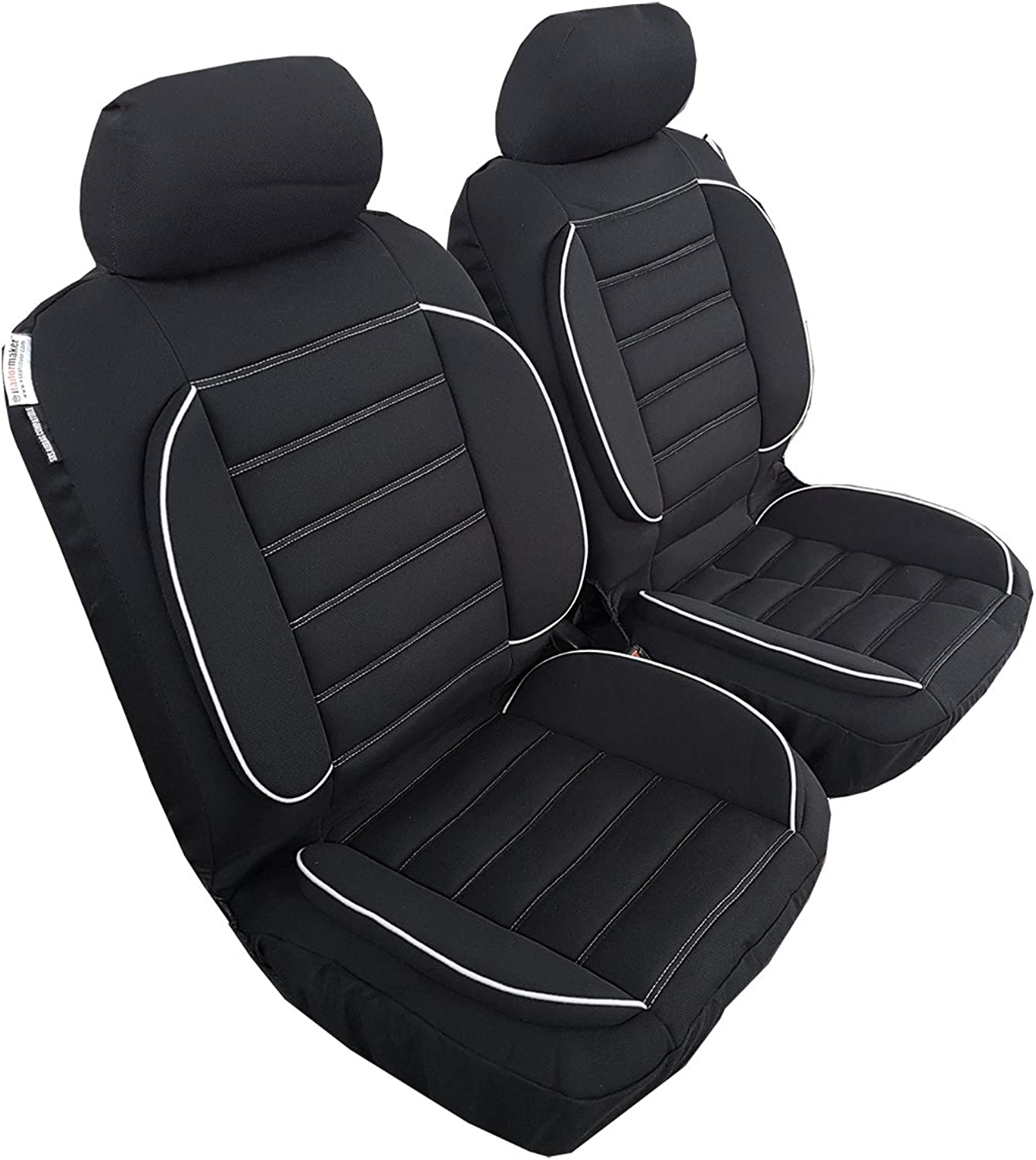 Front Pair Elite Jacquard Car Seat Covers Universal Size Airbag Safe Black, Extra Comfort w t 20mm Sponge Paddings