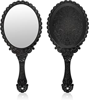 Vintage Makeup Hand Mirror YUSONG Hand Held Mirror with Embossed flower Portable Antique Travel Personal Cosmetic Mirror with powder puff (Black)