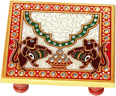 Handicrafts Paradise Marble Chowki with Mouse Painted
