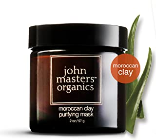 John Masters Organics - Moroccan Clay Purifying Mask - Natural Face Cleanser to Remove Oil & Dirt without Over Drying for Oily & Combination Skin - 2 oz