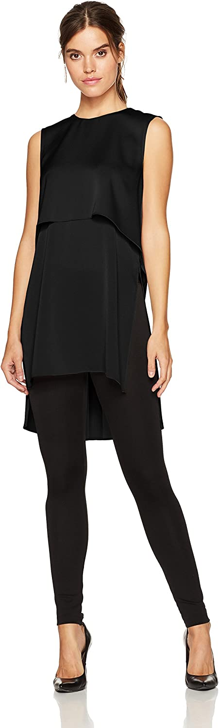 BCBGMAXAZRIA Womens Oliver Woven Layered Top with Flyaway Back Blouse
