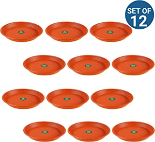 TrustBasket UV Treated 6.4 inch Round Bottom Tray/Plate/Saucer Suitable for 10 inch Round Plastic Pot (Terracotta Colour) - Set of 12