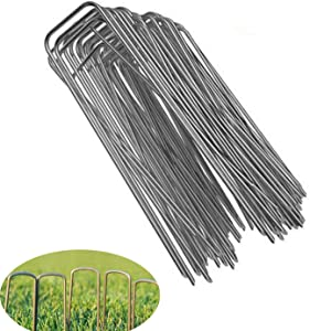 Galvanized Garden Stakes 6Inch Landscape Staples,U-Shaped Securing Stakes Pins Spikes 100 Packs for Anchoring Landscape Fabric Irrigation Tubing