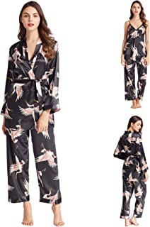 Belle Heure Women's Silky Satin Pajamas Set 3Pcs Floral Cami with Robe and Pants Nightwear with Belt